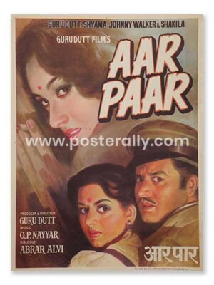 Aar Paar 1954 Movie Poster. Buy Original Bollywood Postersonline India.Vintage Hand Painted Movie Posters of classics of Hindi cinema. Guru Dutt movies.