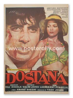 Dostana 1980 Movie Poster. Buy Original Bollywood Postersonline India.Vintage Hand Painted Movie Posters of classics of Hindi cinema. Amitabh Bachchan.