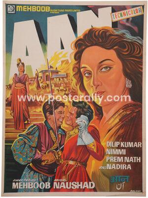 Aan 1952 Poster   Original vintage artist drawn Bollywood posterof Aan 1952 for sale   Dilip Kumar Nimmi Premnath and Nadira   directed byMehboob Khan.