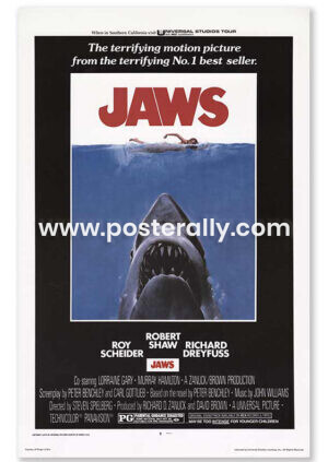 Buy Jaws 1975 Hollywood Movie Poster. Directed by Steven Spielberg. Hollywood Posters online India.