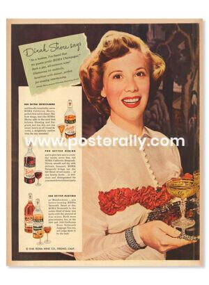 Roma Wine Dinah Shore (1948). Buy Vintage Ad Prints online - food, liquor etc. Buy Kitchen prints, Bar prints, Dining area prints for home decor.