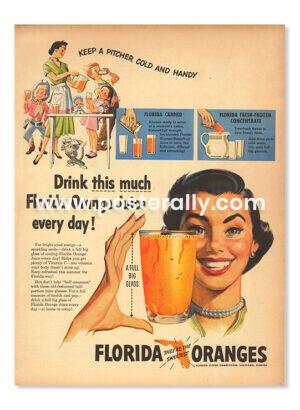 Florida Oranges (1951). Buy Vintage Ad Prints online - food, liquor etc. Buy Kitchen prints, Bar prints, Dining area prints for home decor.