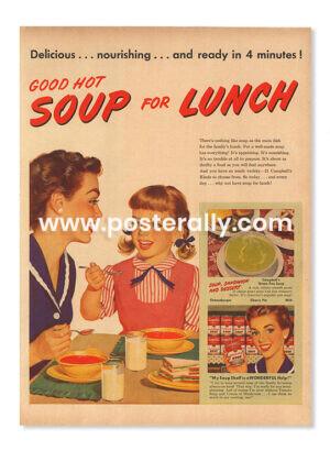 Campbell's Green Pea Soup (1950's). Buy Vintage Ad Prints online - food, liquor etc. Buy Kitchen prints, Bar prints, Dining area prints for home decor.