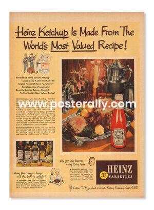 Heinz Ketchup (1948). Buy Vintage Ad Prints online - food, liquor etc. Buy Kitchen prints, Bar prints, Dining area prints for home decor.