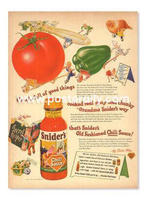 Snider's Chilli Sauce (1940's). Buy Vintage Ad Prints online - food, liquor etc. Buy Kitchen prints, Bar prints, Dining area prints for home decor.