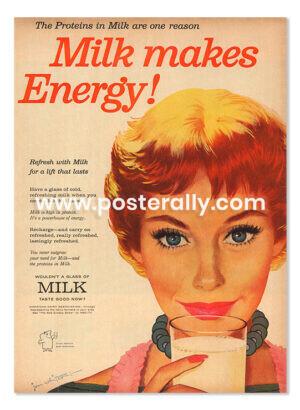 American Dairy Association - Milk Makes Energy (1958). Buy Vintage Ad Prints online - food, liquor etc. Buy Kitchen prints, Bar prints, Dining prints.