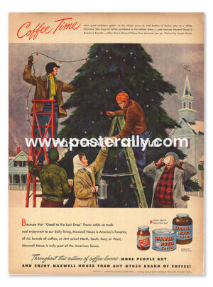 Maxwell House Coffee (1948). Buy Vintage Ad Prints online - food, liquor, desserts etc. Buy Kitchen prints, Bar prints, Dining area prints for home decor.