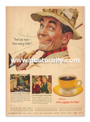 Pan American Coffee Bureau (1950's). Buy Vintage Ad Prints online - food, liquor, desserts etc. Buy Kitchen prints, Bar prints, Dining area prints.