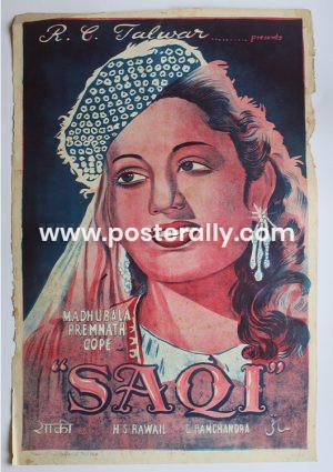 Buy Saqi 1952 Original Bollywood Movie Poster.Starring Madhubala and Prem Nath.Directed by H. S. Rawail. Buy Vintage Handpainted Bollywood Posters online.
