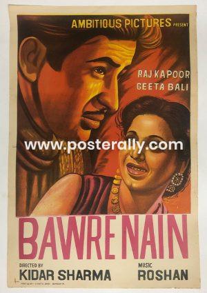 Buy Bawre Nain 1950 Original Bollywood Movie Poster.Starring Raj Kapoor, Geeta Bali Pessi Patel, Jaswant and Cuckoo.Directed by Kidar Nath Sharma.