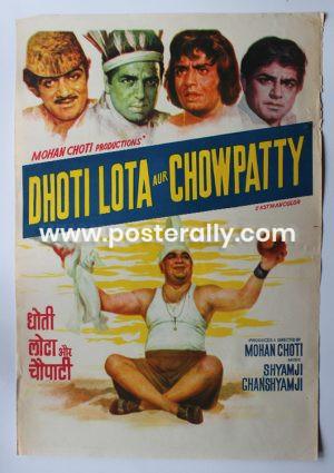 Buy Dhoti Lota Aur Chowpatty 1975 Original Bollywood Movie Poster.Starring Dharmendra, Mohan Choti, Sanjeev Kumar Bindu Helen.Directed by Mohan Choti.
